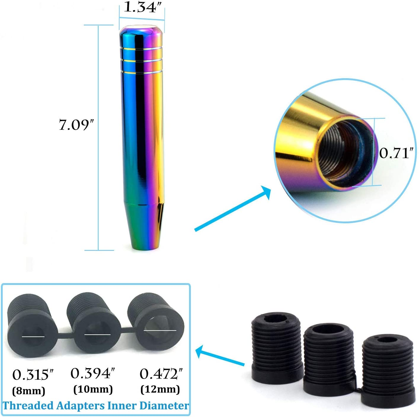 """Thruifo 7.09\"""" Gear Stick Shifter Knobs, Long Weighted Car Shift Head Knob with Aluminum Alloy Fit Most Manual Automatic Vehicles, Multicoloured 615CTCU36cL"""