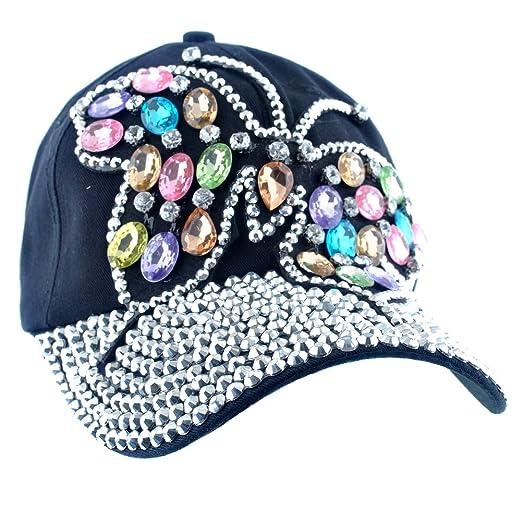 37e5a2534b7 Elonmo Cute Big Butterfly Baseball Cap Jewel Rhinestone Bling Hats Jeans  Wash Denim (Black)