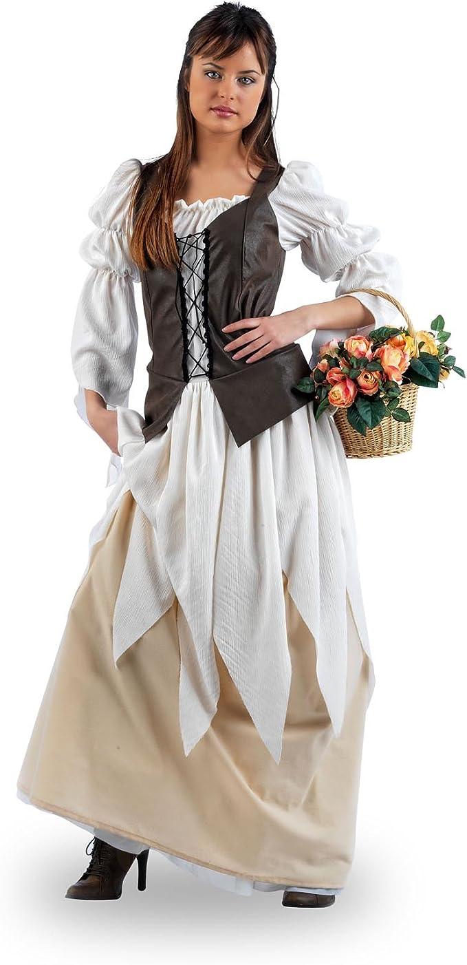 traje medieval vestido de niña de las flores con numerosos adornos ...