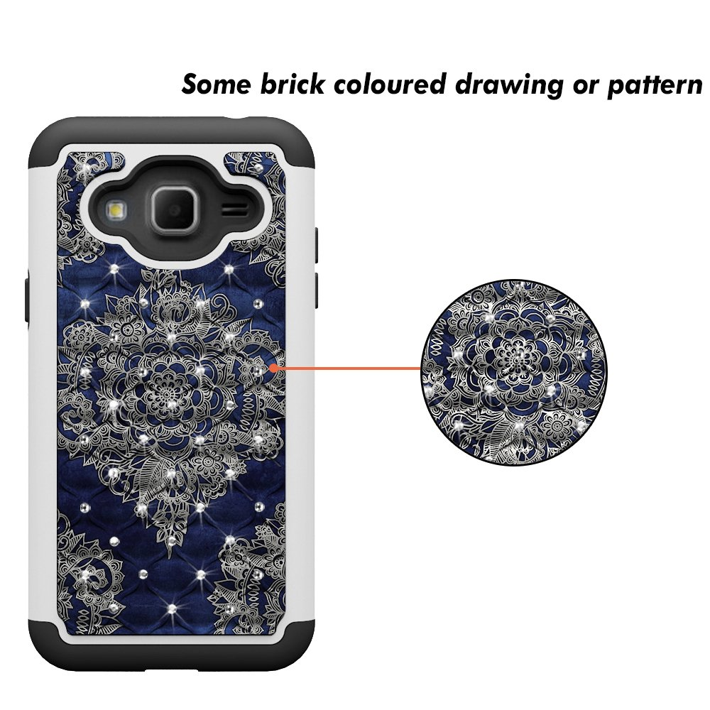 J3 Case, MagicSky [Shock Absorption] Studded Rhinestone Bling Hybrid Dual Layer Armor Defender Cover For Samsung Galaxy J3 (2016) -Flower