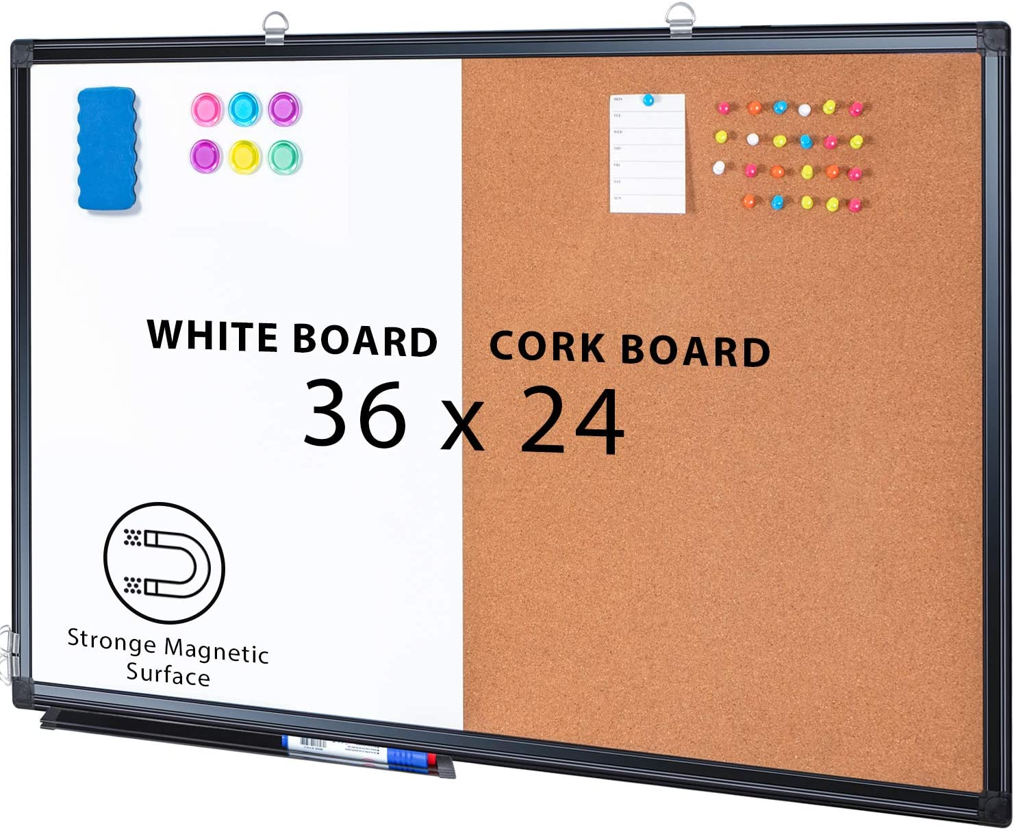 Combination Board, 36 x 24 Magnetic Whiteboard & Cork Board, Dry Erase Board Bulletin Combo Board for Home Office Classroom, Wall Mounted Memo Message Board