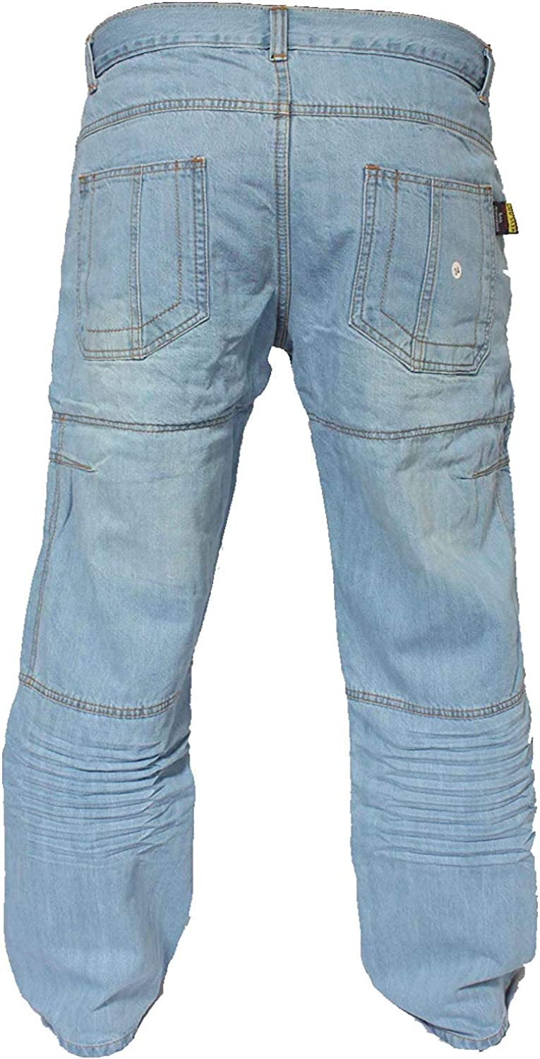 newfacelook Faded Wrinkle Blue Motorcycle Motorbike Armour Jeans Pants Trousers Reinforced with Aramid Protection Lining