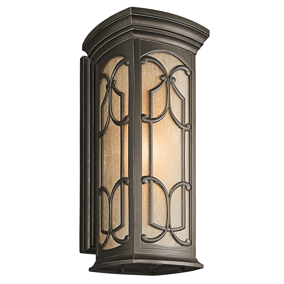 Outdoor led wall lantern olde bronze wall porch lights amazon com - Kichler Lighting 49227oz Franceasi 18 Inch Light Outdoor Wall Lantern Olde Bronze With Light Umber Seedy Glass Wall Porch Lights Amazon Com