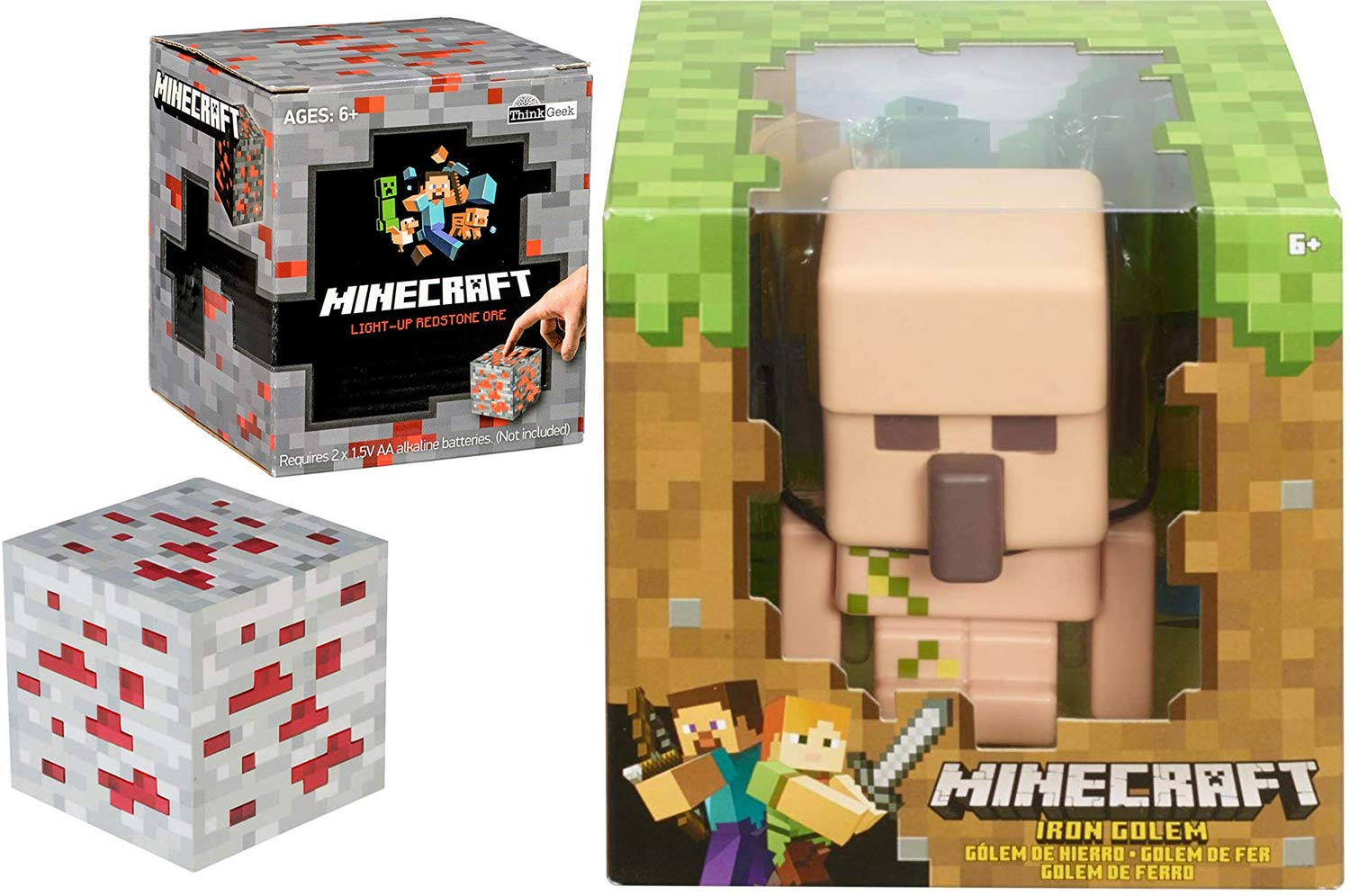 Ore /& Iron Golem Minecraft Figure Enchanted Game Mega Character Bundled with Mini Redston Light-Up Tap Box 8-bit Figure /& Cube 2 Items MC AYB