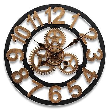 Aliciashouse 45CM rueda Europea Vintage Gear relojes Retro decorativo reloj casa barra pared decoración de la pared -: Amazon.es: Hogar