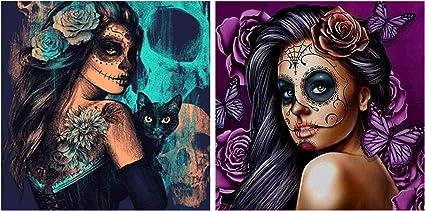 Diy Diamond Painting Kit Embroidery Skull Girl Cat Cross Stitch Home Art Decor
