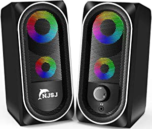 Computer Speakers, NJSJ Wired RGB Gaming Speakers,10W Stereo Bass Desktop Speaker Volume Control,3.5mm Aux Multimedia Speakers for PC/Laptop/Tablet/Cellphone (Black)