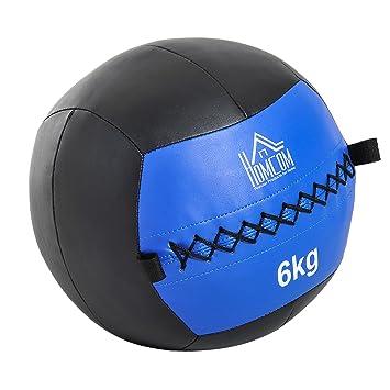 HOMCOM Balón Medicinal de Crossfit 6Kg con Asas Tipo Pelota de Ejercicios de  Cuero y PU 4c686c9f71cfc