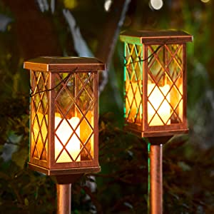 2Pack Outdoor Solar Garden Lights Decorative Flickering Candle Stake Lights Table Lantern for Patio, Yard, Lawn, Walkway (Bronze)