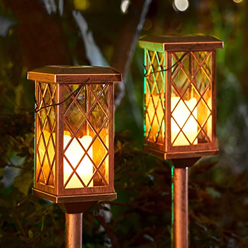 2Pack Outdoor Solar Garden Lights Decorative Flickering Flameless Candle Stake Lights Table Lantern