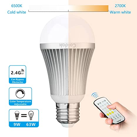 Coidak 9w e26 dimmable led light bulb warm cool white color temperature adjustable