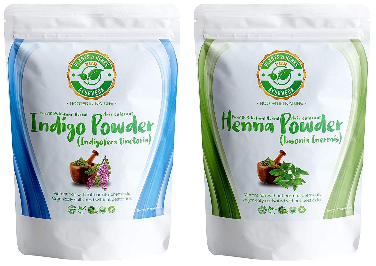 Plants & Herbs Ayurveda 100% Pure Herbal Indigo and Henna (Mehndi) Powder Dye For Natural Shades of Brown and Black Hair and Beards — 8oz / 227g each — Organic, Chemical-free, PPD-free, Ammonia-free
