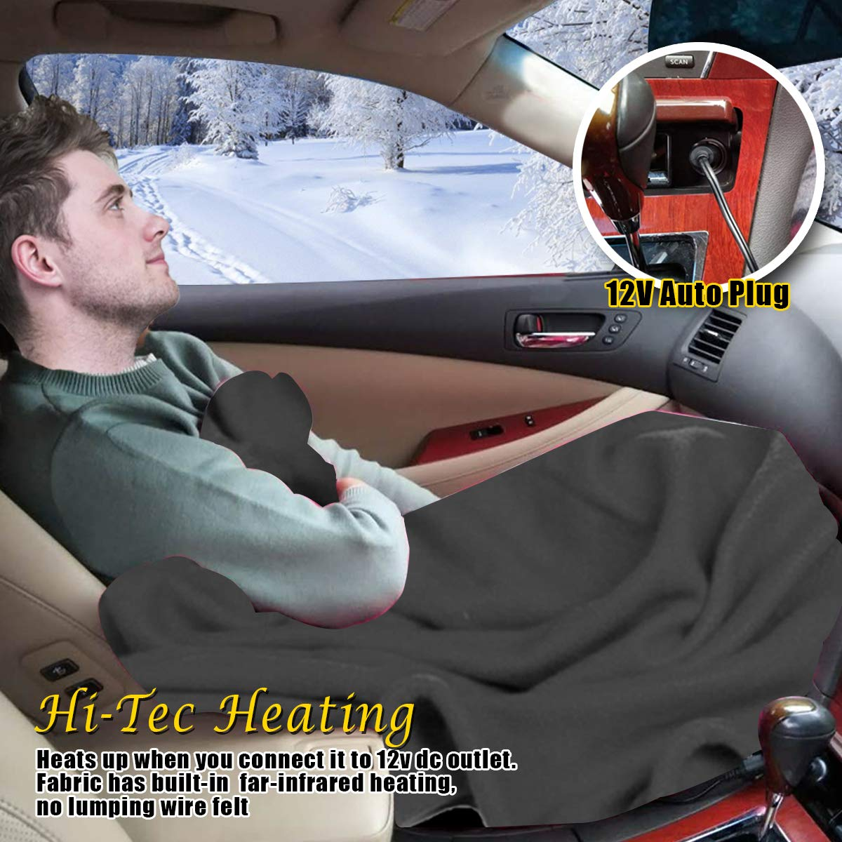 Anti-Flammable Material VaygWay 12V Car Heated Blanket Electric Fleece Travel Blanket Throw Auto Vehicle Road Trip RV Soft Polar Fleece Cold Weather