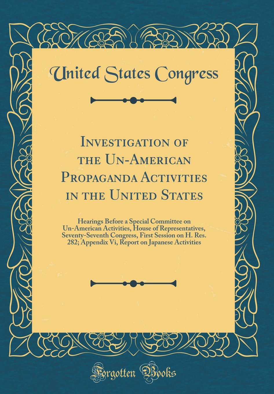 Investigation of the Un-American Propaganda Activities in the United States: Hearings Before a Special Committee on Un-American Activities, House of ... Res. 282; Appendix VI, Report on Japanese a PDF