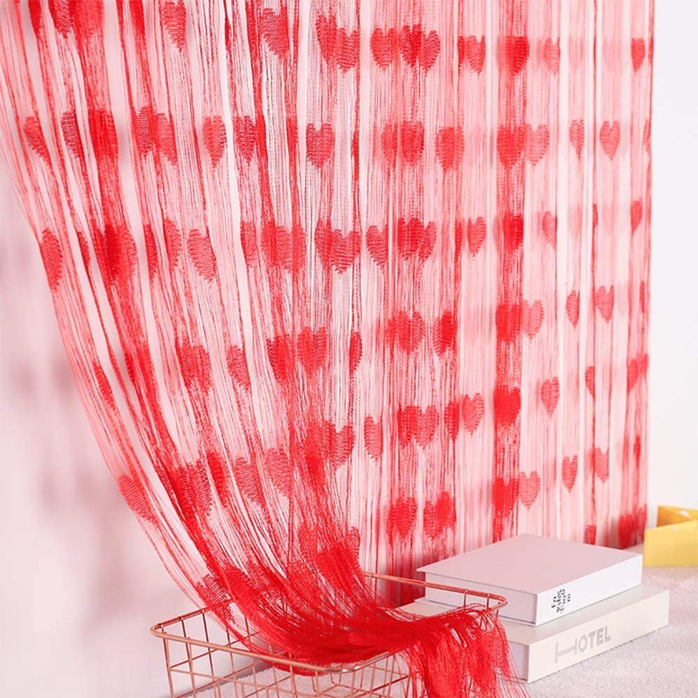 """MAFENT 2Pack Red Romantic Heart Shaped Curtain Lace String Curtain Wall Window Bedroom Curtain Decor Valentines Day Wedding Mother's Day Party Supplies,39"""" x 79"""""""