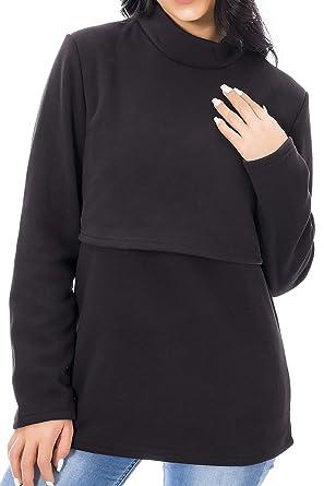 a09ebb69a3a9c Smallshow Fleece Nursing Tops Women's Winter Long Sleeve Breastfeeding  Clothes Black Small