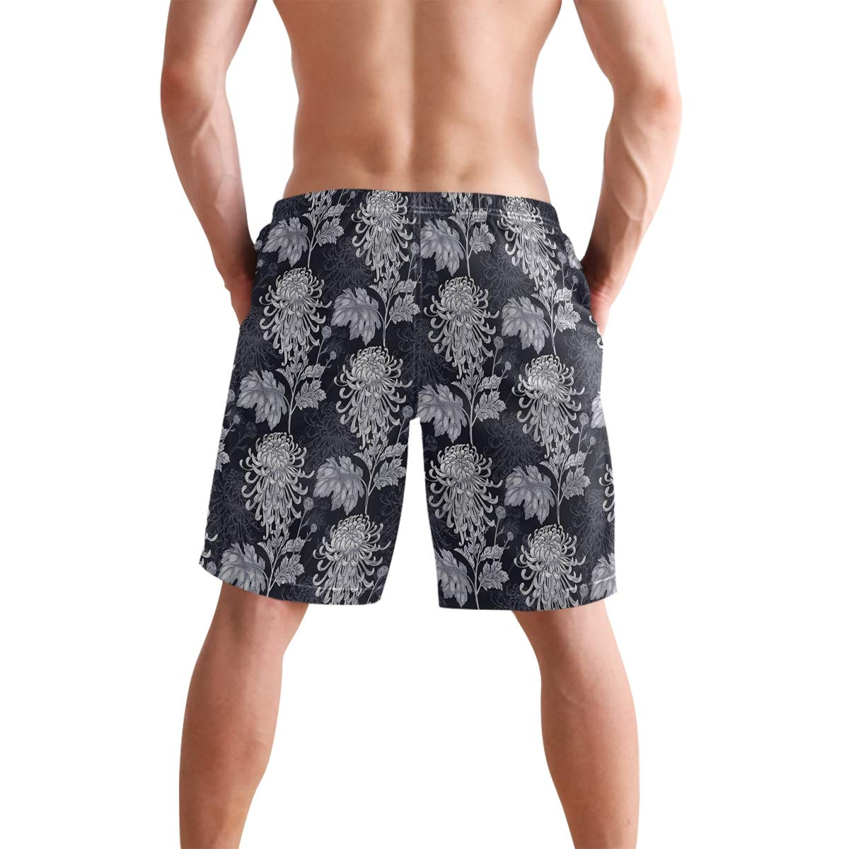 COVASA Mens Summer ShortsChristmaswooden Setting with Silver Balls Fairy Tale