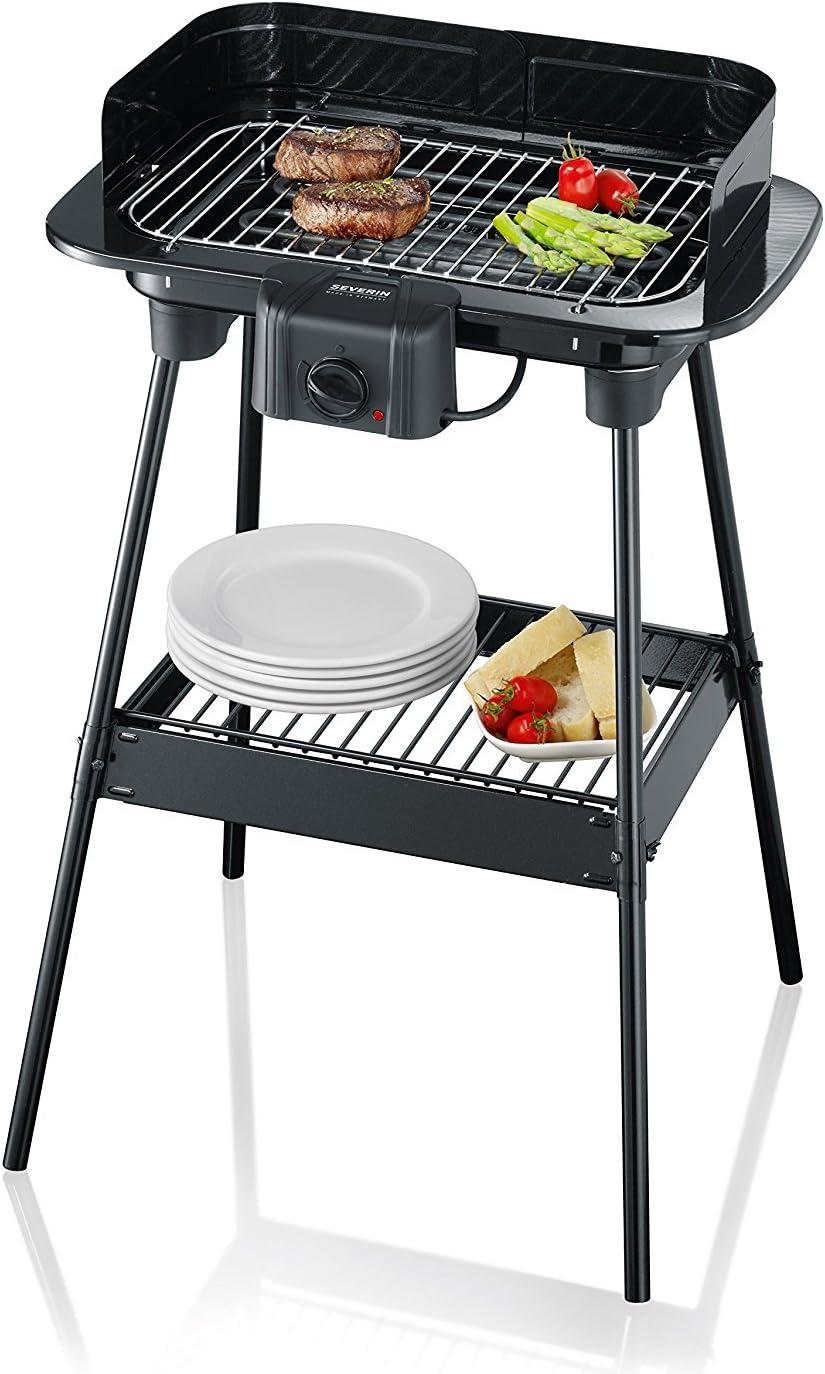 Severin 8523 Barbecue sur Pieds 2300 W noir grille chromée thermostat pare vent (Reconditionné)