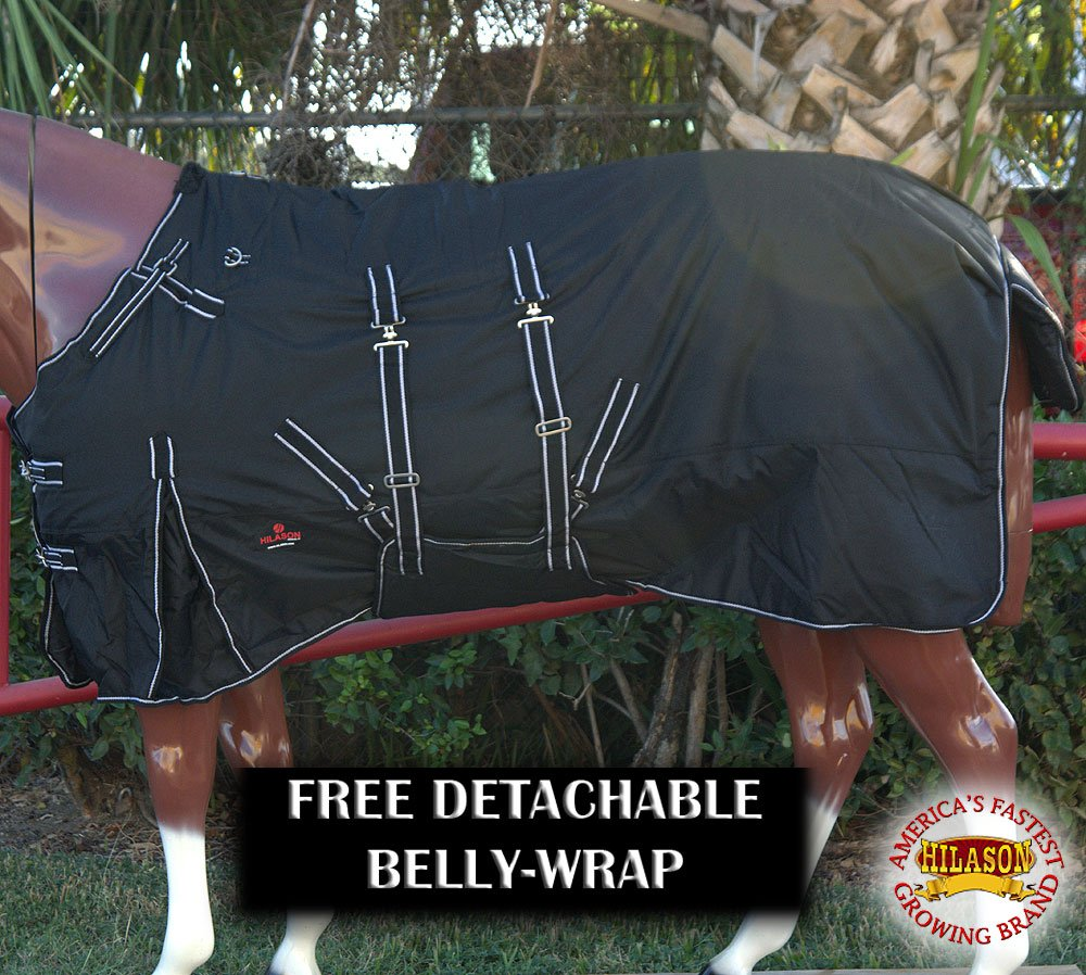 HILASON 78'' 1200D Winter Waterproof Poly Horse Blanket Belly WRAP Black White