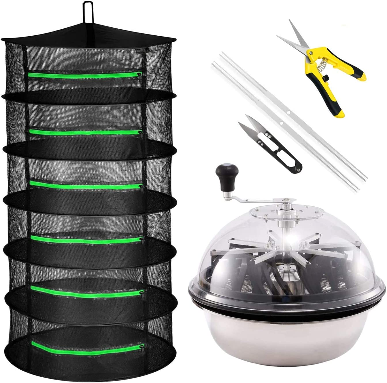 """iPower 19-Inch Bud Leaf Bowl Trimmer Twisted Spin Cut for Plant and Flower, Upgraded Gears, Combo with 2ft 6 Layers Hanging Herb Drying Rack Net, Zippered, 6L, 6.5"""" Gardening Hand Pruner, Yellow"""