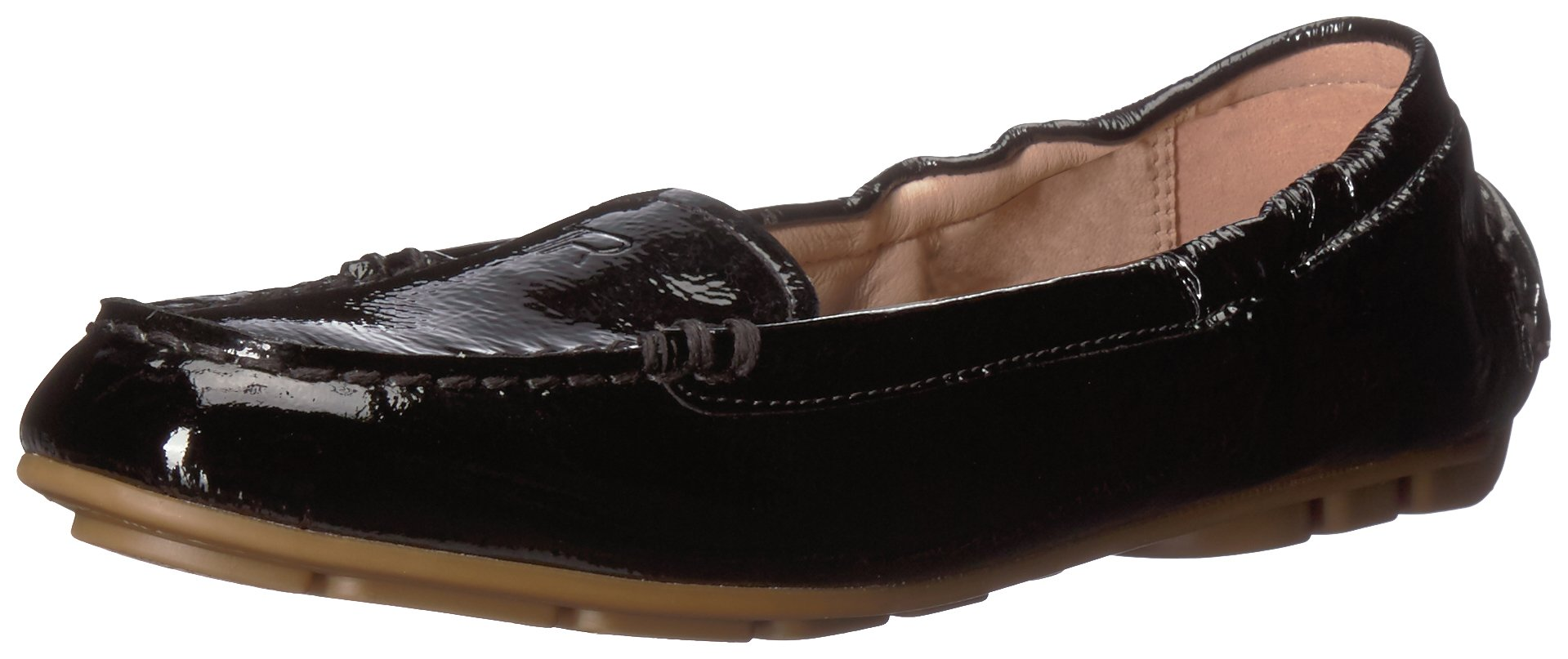 Taryn Rose Women's Kristine Crinkled Patent Driving Style Loafer, Black, 8 M M US