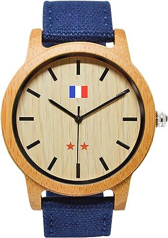 JEDDO Reloj de Madera Marrón, Serie Champion del Mundo, Grabado Bandera Francés, Brazalete Azul: Amazon.es: Relojes