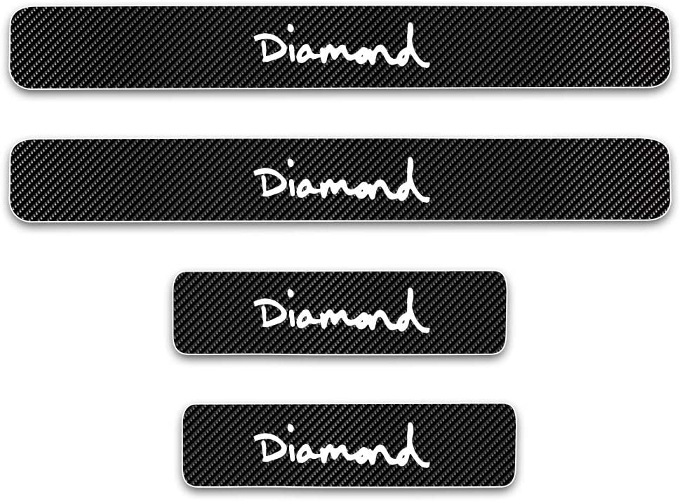 Universal 4D Carbon Fiber Door Sill Guard Protector Trim Covers fits for Car Truck SUV Anti Scratch Kick Plate Sticker with Word Diamond White 4 Pcs