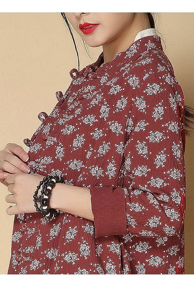 Vogstyle Mujeres Primavera / Otoño Chino Botones Estampado Floral Ropa Rojo óxido: Amazon.es: Ropa y accesorios