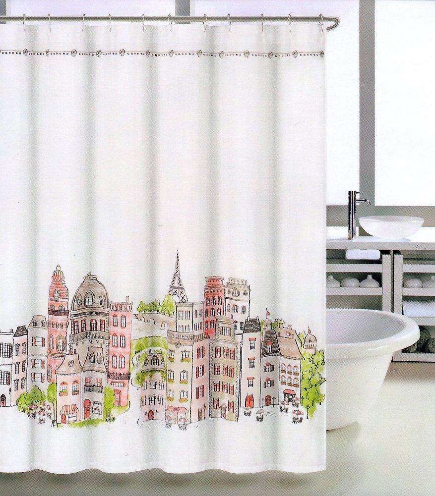 Amazon.com: Tahari Shower Curtain Paris in Color Green, Tan, Orange ...