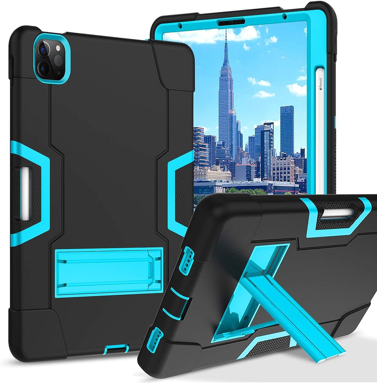 BENTOBEN iPad Air 4 Case 10.9 Inch 2020, iPad Pro 11 Case 2018/2020, Heavy Duty Shockproof Kickstand Three Layer Hybrid Protective Case Cover for iPad Air 4th Generation/iPad Pro 11 inch, Blue/Black