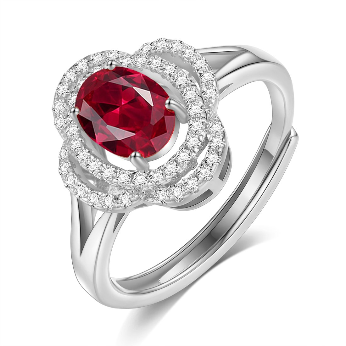 GUIJI Fine Resizable Ring Oval Ruby Double Zircon Surrounded Gemstone Ring (Silver)