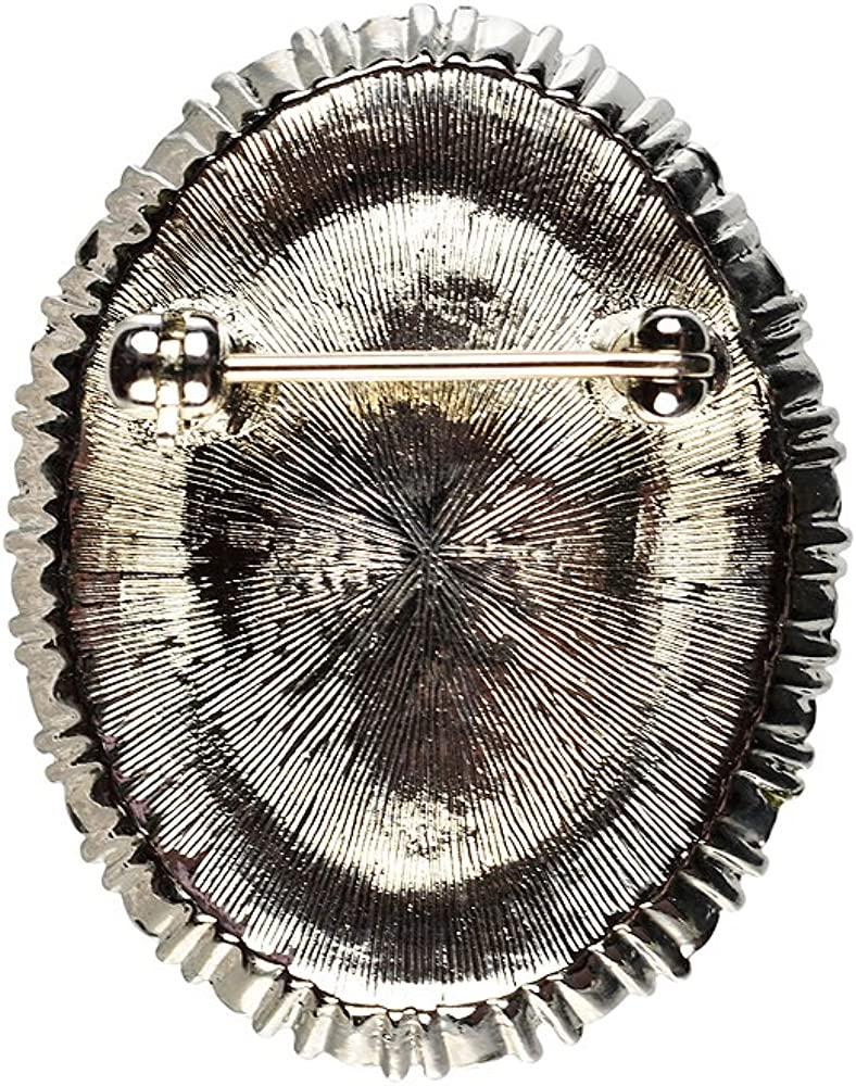 Cristalina Silver Tone Large Oval Montana Blue Crystal Regal Brooch