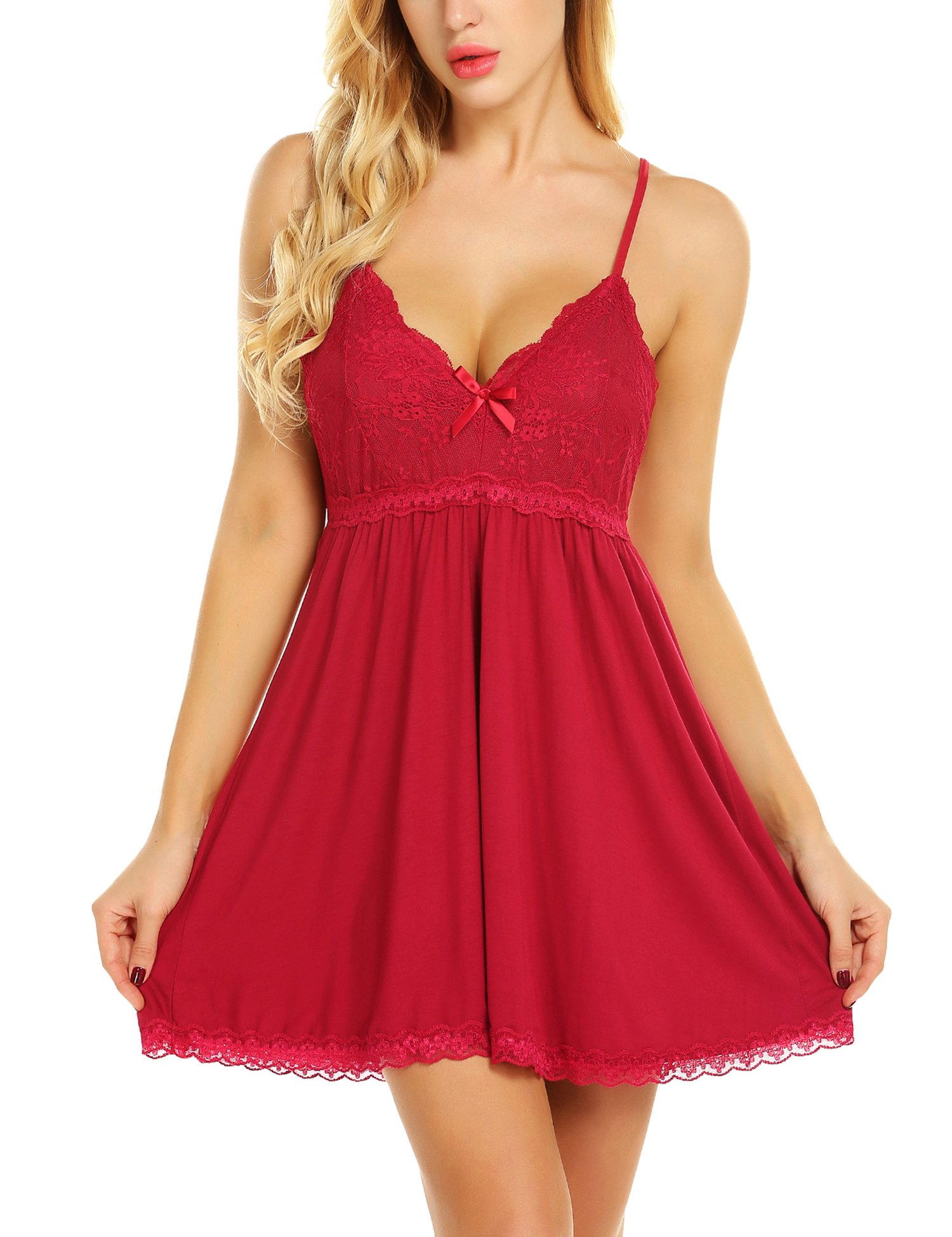 Avrilove Lingerie for Women Floral Lace Straps Chemise Babydolls Sexy Sleepwear (Red, XL)