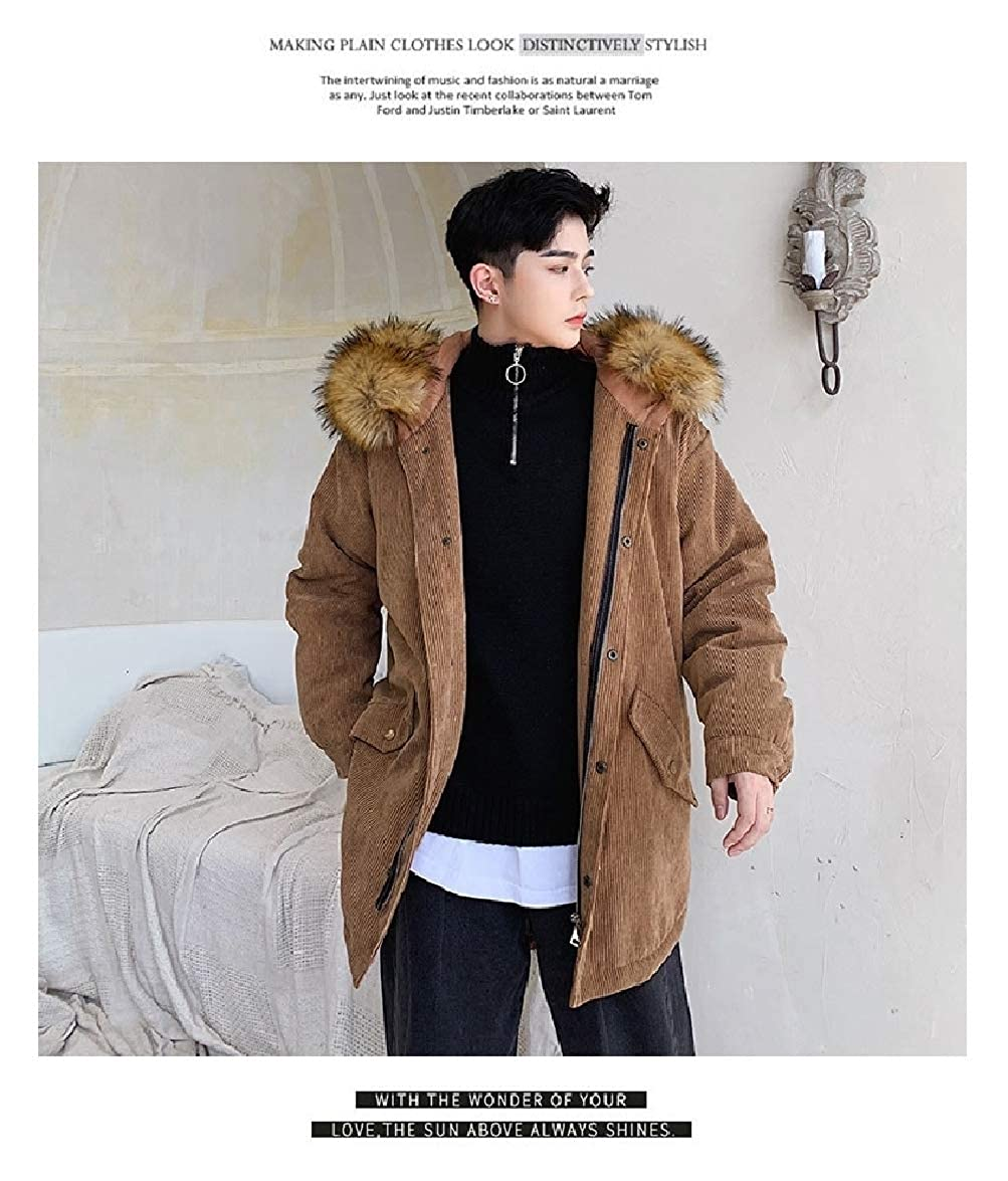 Abetteric Men Solid Striped Casual Md-Long Cotton Thickening Overcoat Outerwear