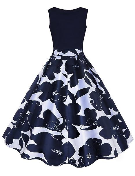 iBaste Vestidos Vintage Mujer Impresión Cintura Alta Vestido con Vuelo Clásico Estilo V-Cuello Falda