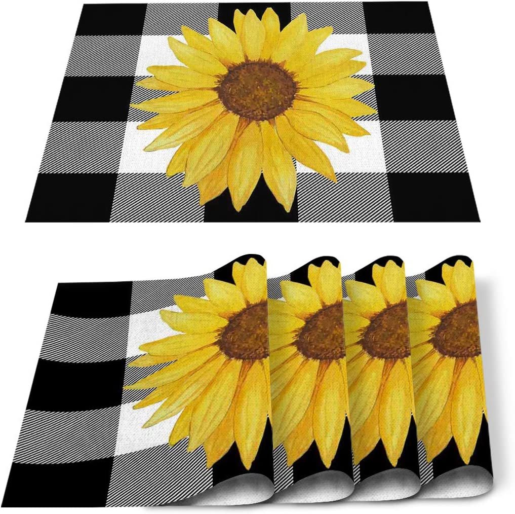 Victories Placemats for Dining Table-Farm Sunflower Buffalo Plaid Black and White Heat Insulation Stain Resistant Placemats Set of 6,Washable Table Mats for Home Kitchen Christmas Wedding Decor