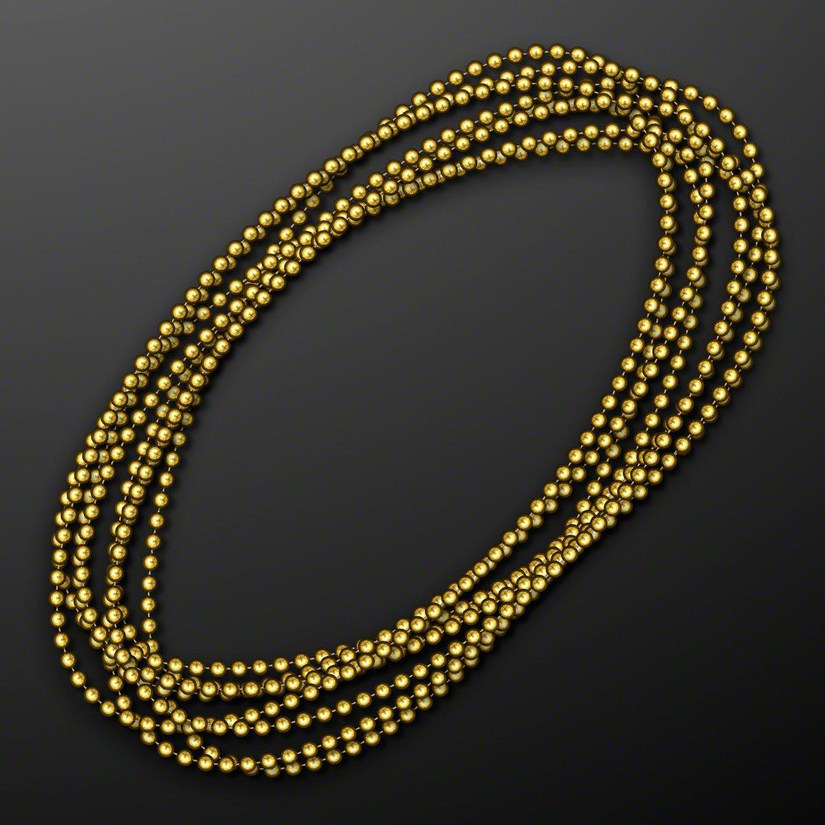 FlashingBlinkyLights Gold Round Ball Mardi Gras Bead Necklaces (Set of 144)