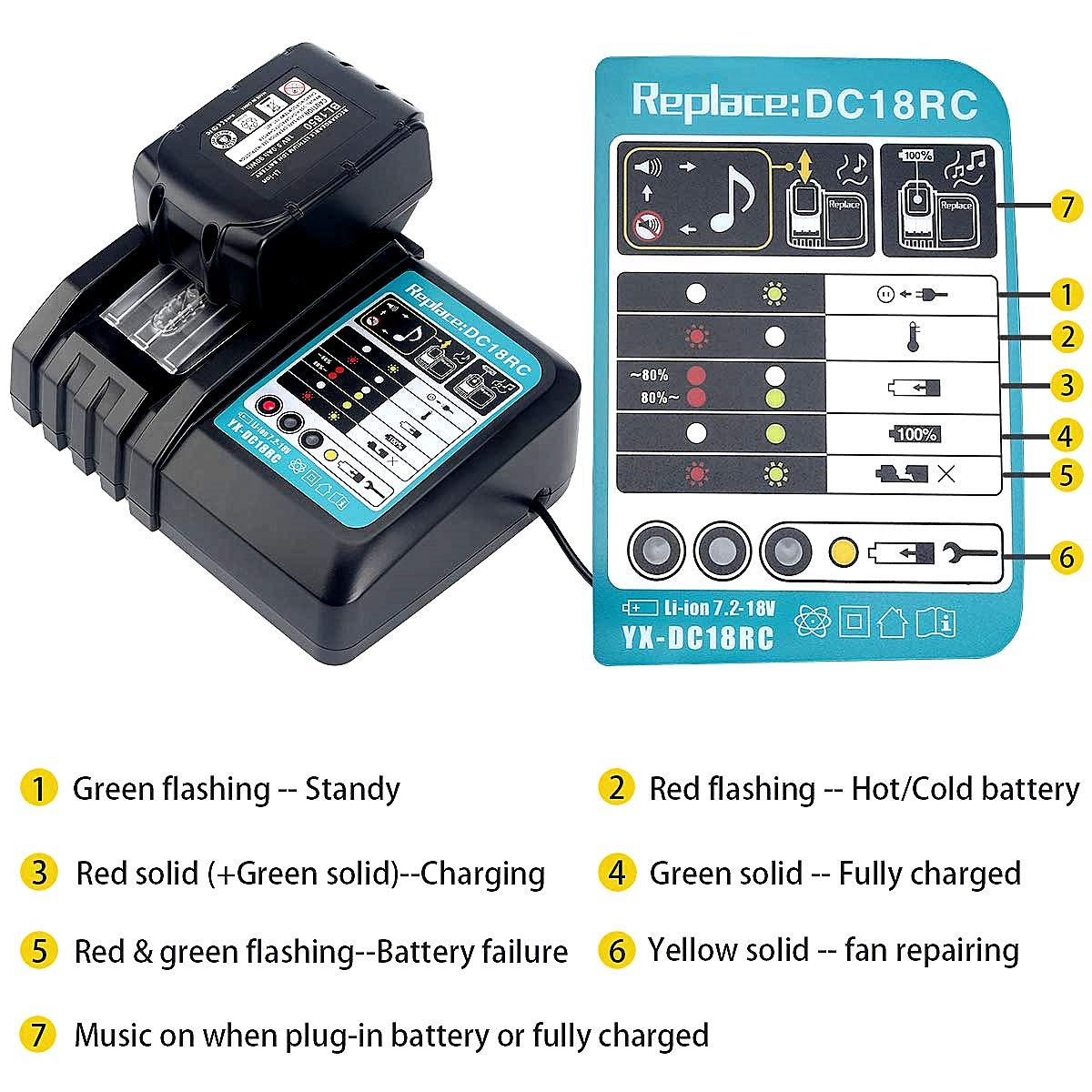 2 piezas 18 V 3,0 Ah bater/ía de ion de litio de repuesto con 3 A cargador de repuesto para Makita Radio de construcci/ón DMR110 DMR112 DMR107 DMR108 BMR100 DMR100 18V Radio inal/ámbrica Bluetooth