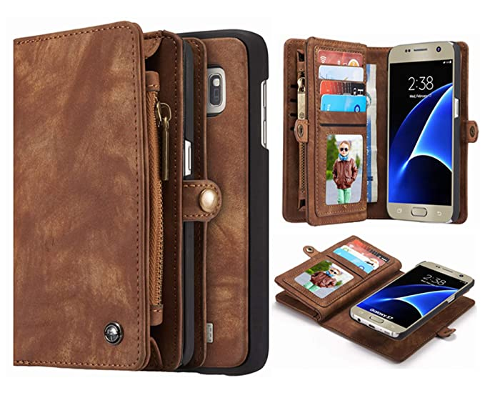 brand new ec008 38339 Galaxy S7 Wallet Case, Hynice Detachable Leather Purse with 11card Sltos  Zipper Pocket for Credit Card Holder Removable Slim Back Cover Shell Folio  ...