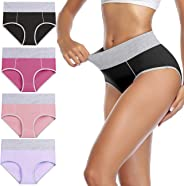 wirarpa Women's Cotton Underwear High Waist Panties Ladies Breathable Briefs Lovely Underpants Multicolored Multipack
