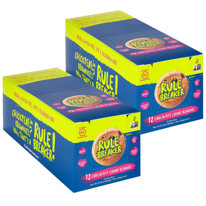 Rule Breaker Snacks, Chocolate Chunk Blondie, Vegan, Gluten Free, Nut Free, Allergy Friendly, Kosher, Individually Wrapped 1.9oz Cookies (24 Blondies) by Rule Breaker