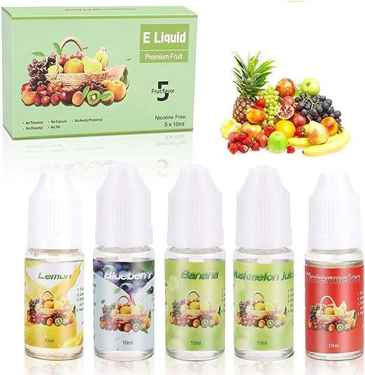 E-líquido sin Nicotina, ZEMOJ 5x10ml E-líquido para Cigarrillos Electrónicos 70VG/30PG E-shisha, ni Tabaco, 5 piezas: Amazon.es: Salud y cuidado personal