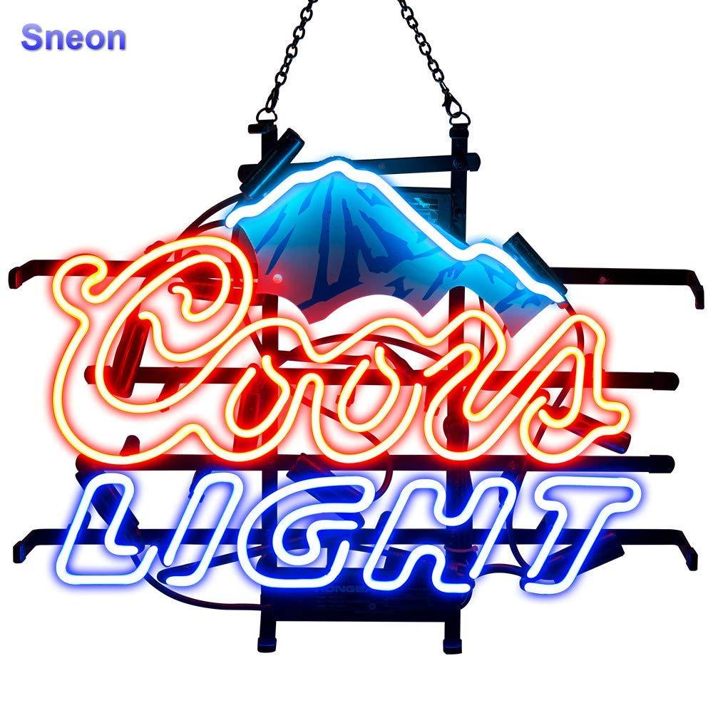 LinC Neon Coors Light Mountain Home Decor Light for Bedroom Garage Beer Bar and Nightclub, Real Glass Neon Light Sign for Wall Decor Art