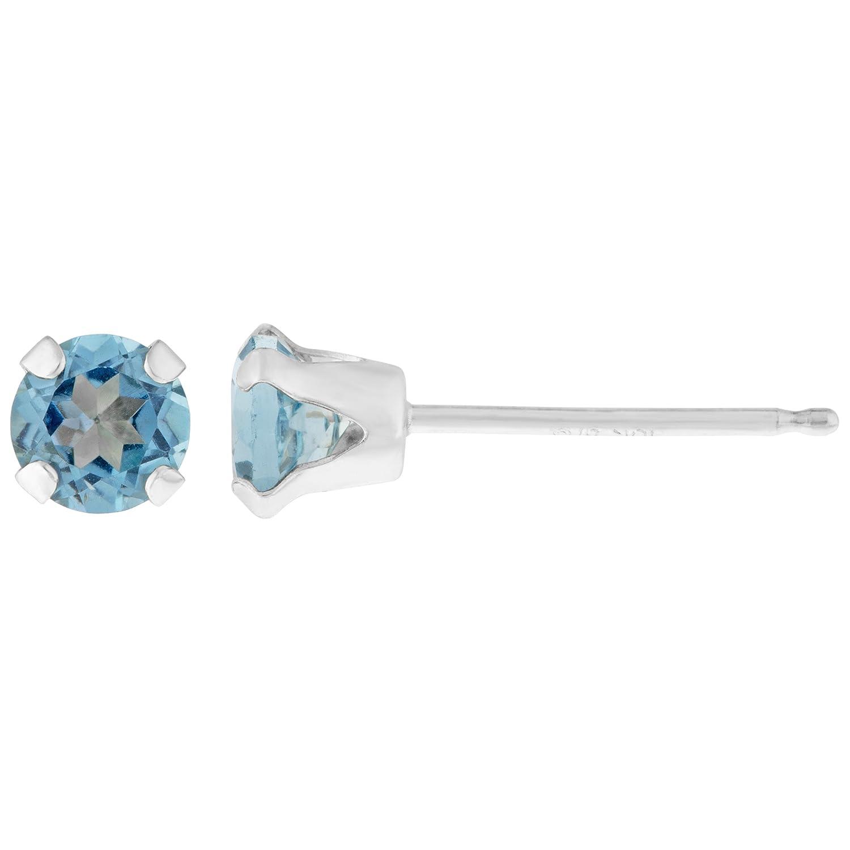 .60 CT Round 4MM Blue Topaz 14K White Gold Stud Birthstone Earrings