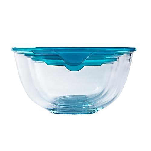 Pyrex SET OF 3 Cook & Store Mixing Bowl Set With Lids 05L/1L/2L Litre