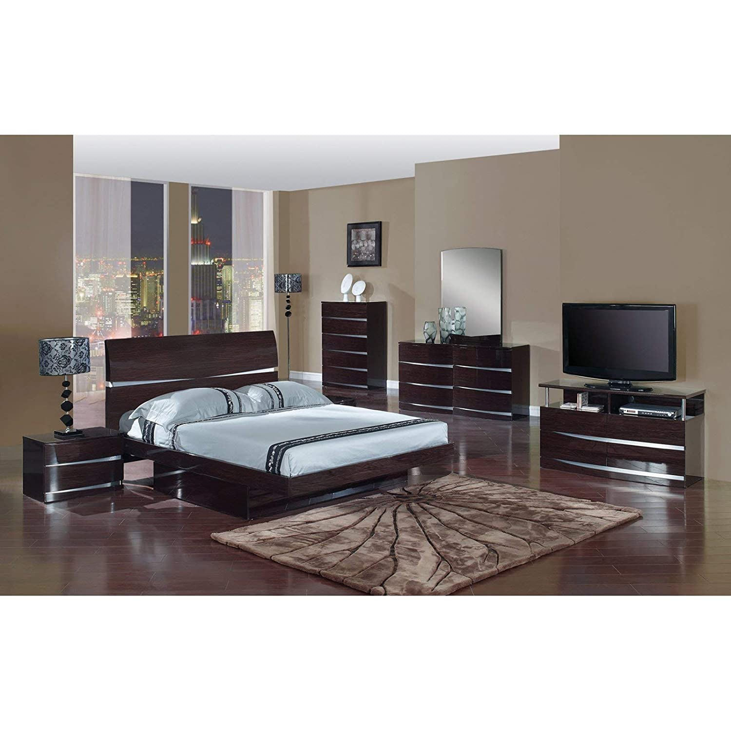 Global Furniture Aria Aurora Collection MDF Wood Veneer Bedroom Set with Entertainment Unit, Wenge