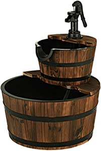 S AFSTAR 2-Tier Outdoor Water Fountain, Fir Wood Barrel Waterfall Fountain with Pump and Decorative Hand Pump, Adjustable Water Flow, Great for Garden and Backyard Decoration