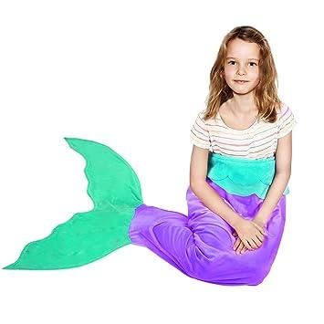 Cola de sirena fairbridge manta, Super suave y cálido temporadas de tiburón de peluche manta cálida y suave saco de dormir presente para las niñas niños ...