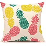 """4TH Emotion Colorful Pineapple Pattern Throw Pillow Cover Summer Beach Decor Cushion Case for Sofa Couch 18"""" x 18"""" Inch Cotton Linen"""