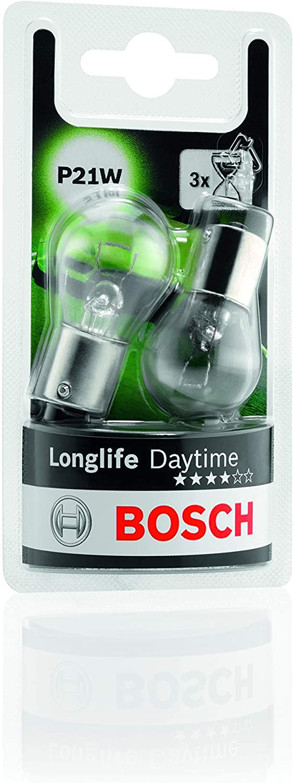 Lámparas Bosch para vehículos Longlife Daytime P21W 12V 21W BA15s (Lámpara x2)